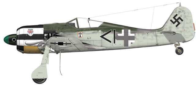 Fw 190A-4 de Hans Ehlers. Stab I.JG1, Hollande juillet 1943