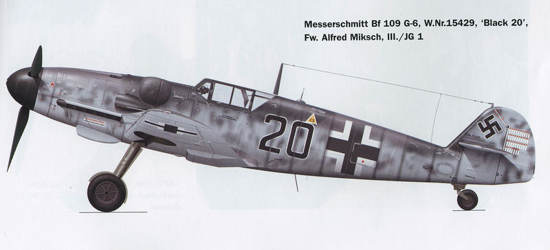 Me Bf 109 G-6, Alfred Miksch, III.JG1 - Pays-Bas 1943