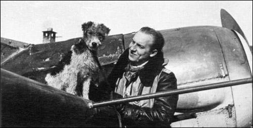 Werner Gayko et son chien sur son Fw 190A-8, 9.JG 5, Norvège