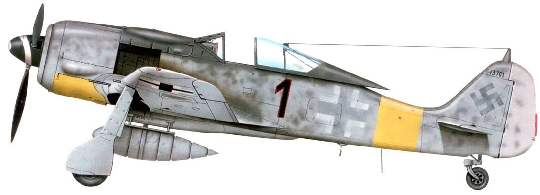 10- Fw 190 A-7 de Alwin Doppler. Rotenburg, Allemagne fin Mars 1944.