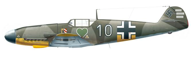 Bf 109F White 10 piloté par  Rudolf Rademacher 1.JG 54 été 1943