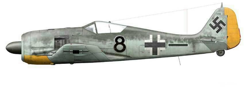 10 -Fw 190A-5 de Wilhelm-Ferdinand Galland. 5.JG26 Beaumont le Roger, France, Avril 1942