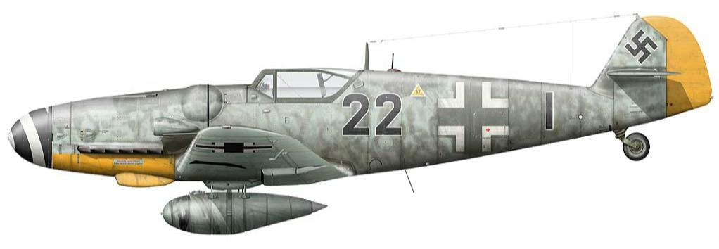 5 -Me Bf 109G-6 du Major Klaus Mietusch, Stab III.JG 26, Lille-Nord France, Avril 1944.