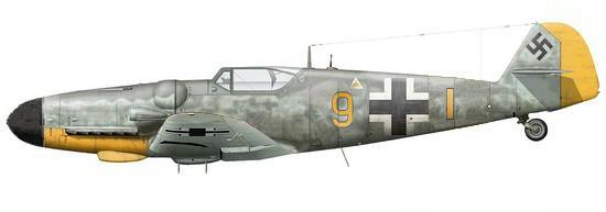6- Me Bf 109 G-6, du leutnant Karl-Heinz Kempf. JG 26 Villacoublay.  1944